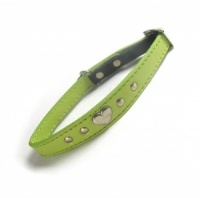 Amour Leather Cat Collar - Vert Anis