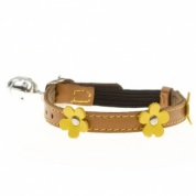 Lucy Orange Leather Designer Cat Collar