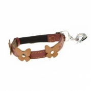 Papillon Red Leather Designer Cat Collar