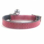 Plain Pink Leather Cat Collar