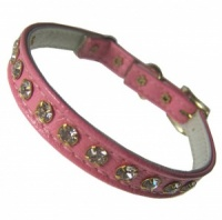 Pink Leather Look Diamante Cat Collar