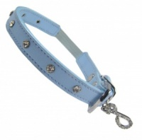 Leather Diamante Long Cat Collar by Puchi - Blue