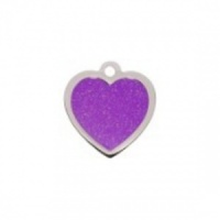 Purple Heart Glitter Cat Tag