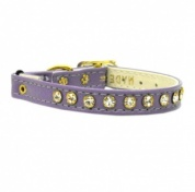 Purple Leather Look Diamante Cat Collar