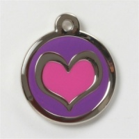 Purple Pink Heart Cat Tag