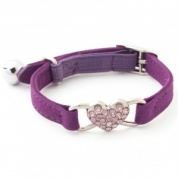 Purple diamante heart cat collar