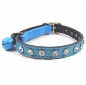 Real Leather Diamante Cat Collar | Blue