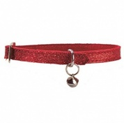Red Glitter Leather Cat Collar by Bobby