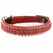 Red Jewel Leather Cat Collar