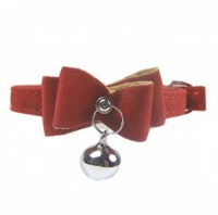 Cardinal Velvet Bow Bell Cat Collar