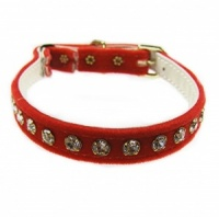 Red Velvet Diamante Cat Collar