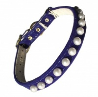 Royal Blue Pearl Cat Collar