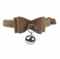 Taupe Velvet Bow Bell Cat Collar