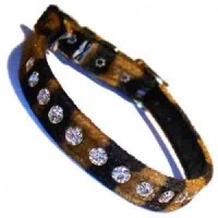 Tiger Velvet Diamante Cat Collar