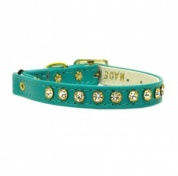 Turquoise Leather Look Diamante Cat Collar