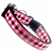 Woven Check Gingham Cat Collar - Pink