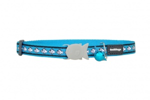 Turquoise Fish Reflective Cat Collar by Red Dingo