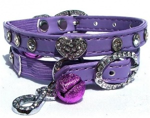 Violet Belle Diamante Heart Cat Collar by Puchi
