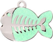 Green Glitter Fish Cat Tag