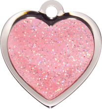 Pink Heart Glitter Cat Tag