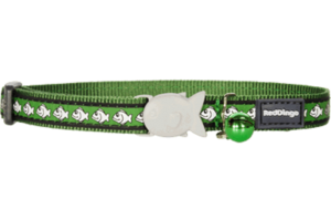 Green Fish Reflective Cat Collar by Red Dingo