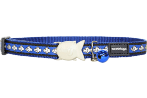 Dark Blue Fish Reflective Cat Collar by Red Dingo