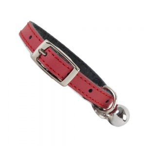 Plain Red Leather Cat Collar