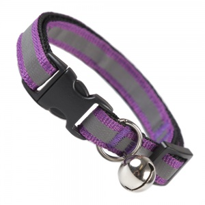 Plum Purple Stripe Reflective Cat Collar