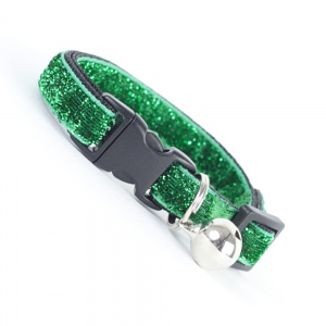 Green Glitter Velvet Cool Cat Collar