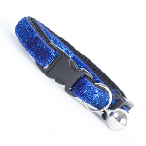 Dark Blue Glitter Velvet Cool Cat Collar