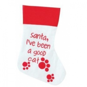 Good Cat White Christmas Stocking for Cats