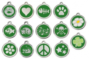 Green Engraved Cat ID Tags