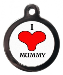 I Love Mummy Cat ID Tag