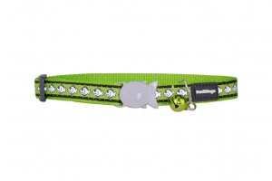 Lime Green Fish Reflective Cat Collar by Red Dingo