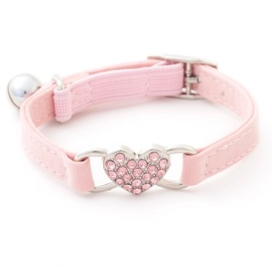 Pink diamante heart cat collar
