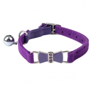 Purple Diamante Bow Velvet Cat Collar