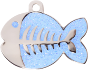 Light Blue Glitter Fish Cat Tag