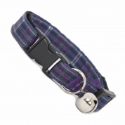 Purple Tartan Cat Collar