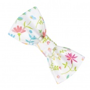 White Spring Floral Cat Bow Tie