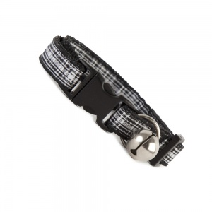 Black and White Tartan Cat Collar