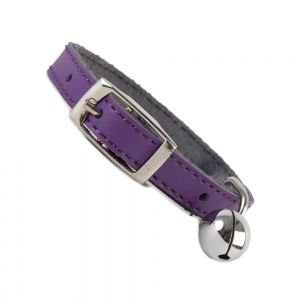 Plain Purple Leather Cat Collar