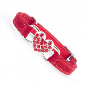 Red diamante heart cat collar