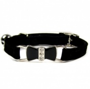 Black Diamante Bow Velvet Cat Collar