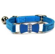 Blue Diamante Bow Velvet Cat Collar