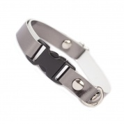 Mouse Grey Metallic Luxury Leather Cat Collar