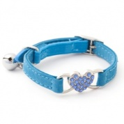 Light blue diamante heart cat collar