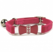Pink Diamante Bow Velvet Cat Collar