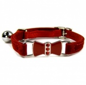 Red Diamante Bow Velvet Cat Collar