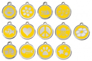 Yellow Engraved Cat ID Tags